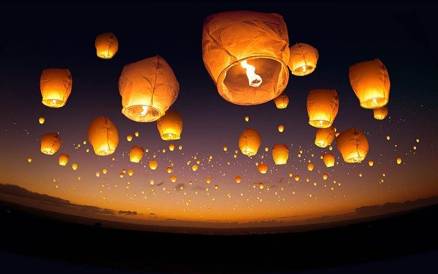 Balloons Candle Fire Flame Sky